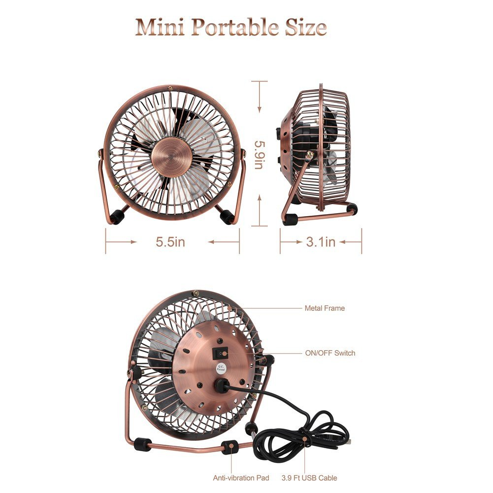 GLAMOURIC Small USB Desk Fan Mini Metal Personal Fan Retro Design Electric Portable Air Circulator Angle Adjustable Quiet Operation for Table Desktop Home Office Travel (Copper) by GLAMOURIC (Image #7)