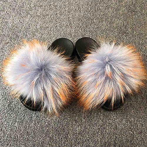 ASLQimoo Women's Fur Slipper Real Raccoon Fur Fashion Style Furry Slides Soft Warm Big Fluffy Fur Shoes S6020E Grey Orange Spot 42 ()