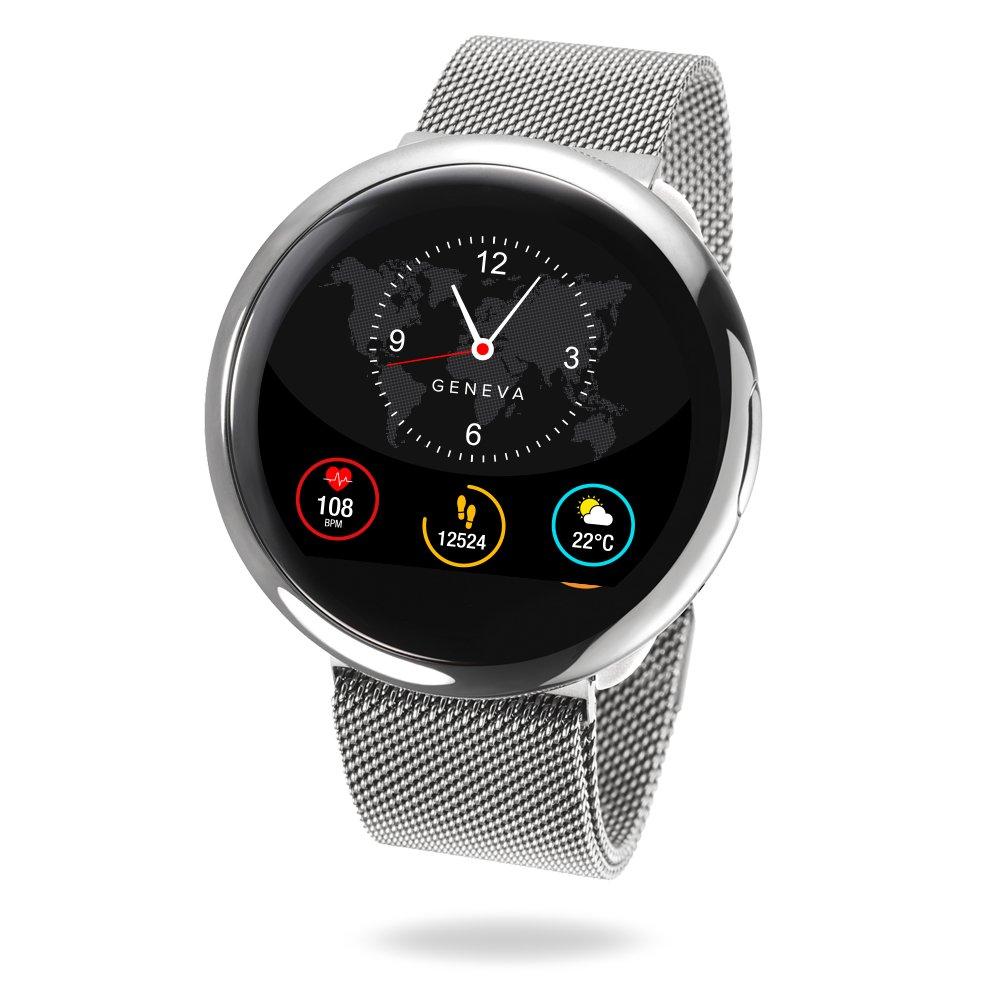 MyKronoz ZeRound2HR Elite - Smartwatch con Monitor de Ritmo cardiaco, micrófono Incorporado y Altavoz, Color Plata Brillante