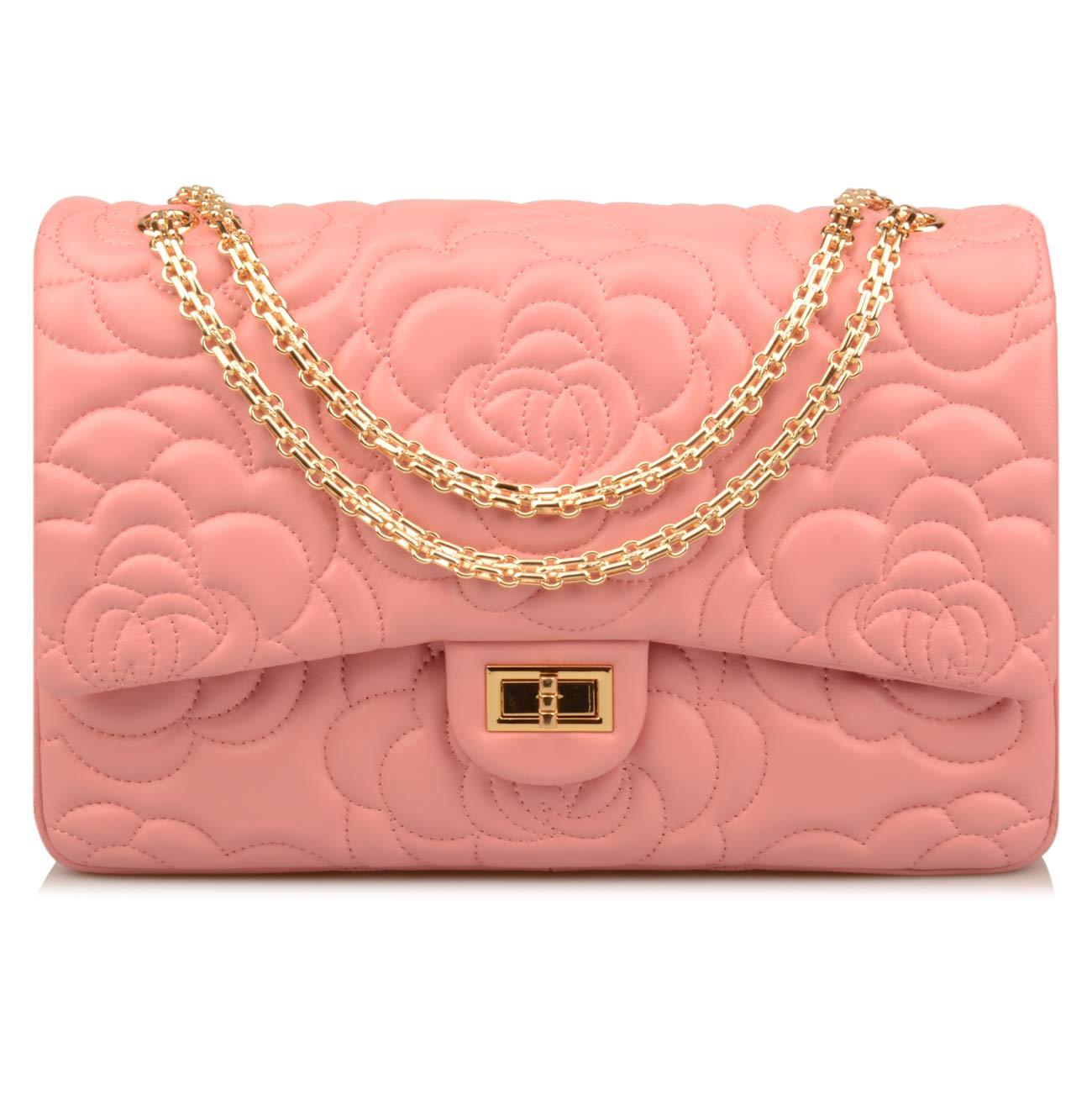 Ainifeel Women's Quilted Oversize Genuine Leather Shoulder Handbag Hobo Bag Purse (X-Large, Flower (pink gold hardware))