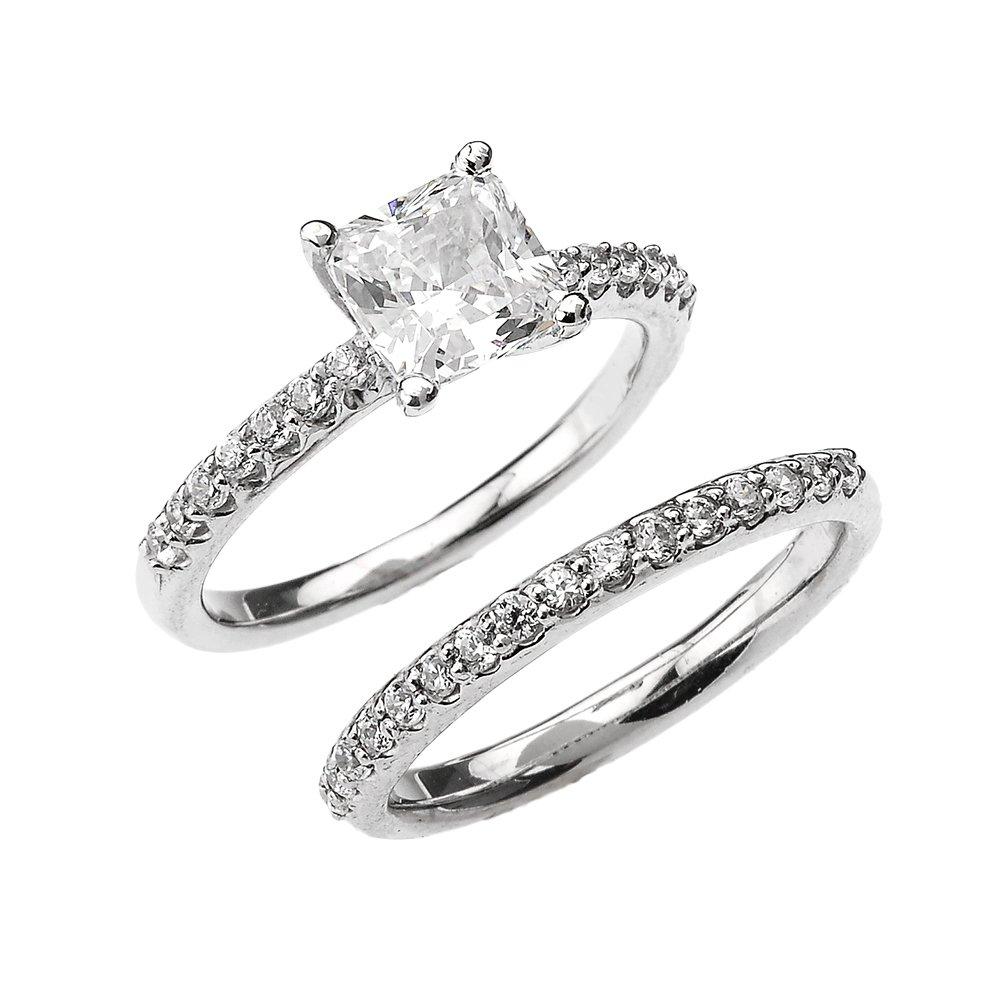 10k White Gold 2.5 Carat Total Weight Princess CZ Classic Engagement Wedding Ring Set (Size 8.75)