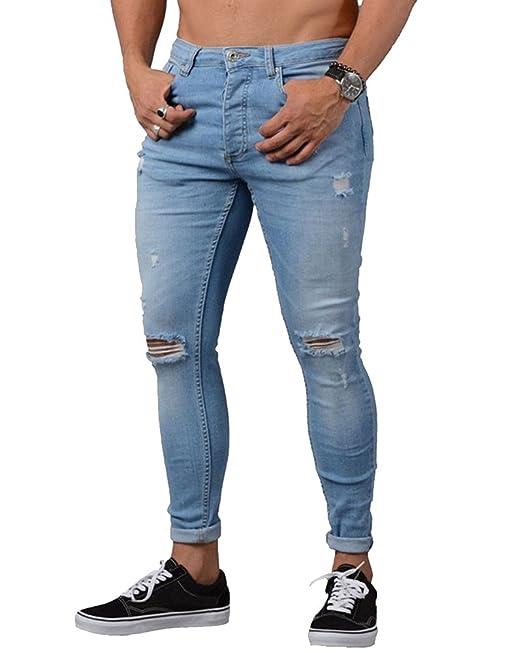 7a0bd7dbb0 Jeans Strappati Ginocchia Uomo Skinny Elasticizzati Pantaloni Casual Slim  Fit