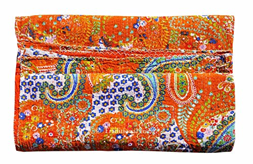 Pure Cotton Gudri New Kantha Stitch Quilt Floral Pattern Bed Spread Home Décor Kantha Reverssible Bedspread Stitch Gudri 60x90 Inch by Traditional India