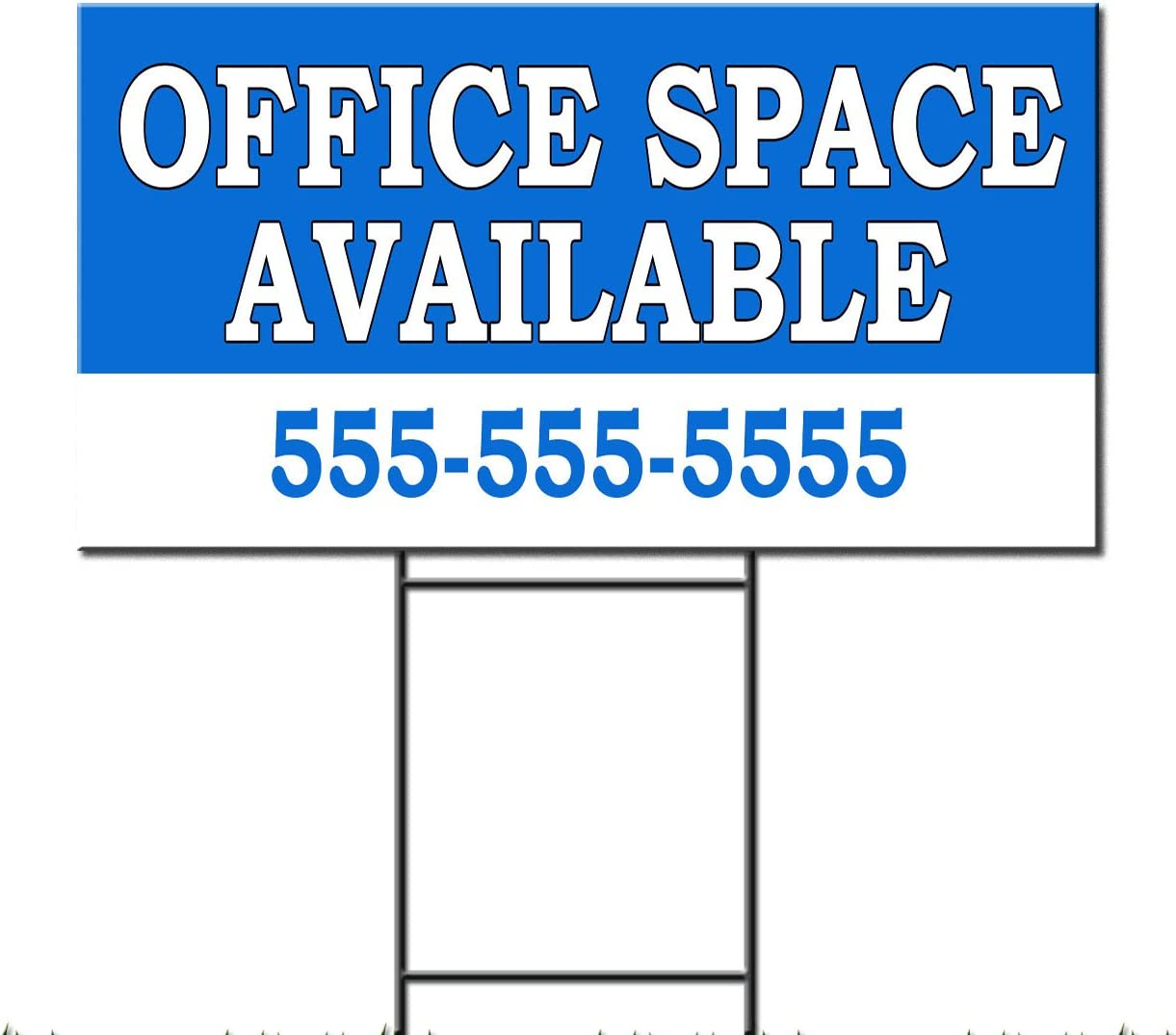 Office Space Available Rent Lease Custom Plastic Yard Sign/Free Stakes 18 x 24 Inches One Side Print