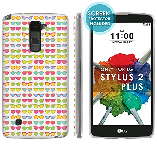 [LG Stylo 2 Plus] Soft Mold [Mobiflare] [Clear] Thin Gel Protect Cover [Screen Protector INCLUDED] - [Sunglasses] for LG Stylo [2 - Sunglasses Mold Injection