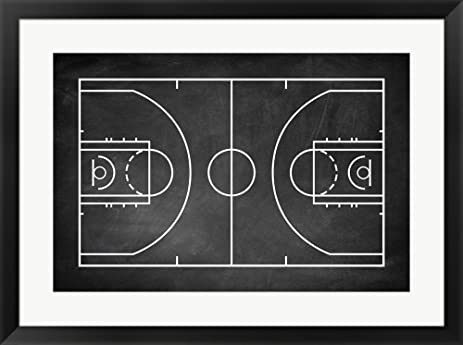 Basketball Court Chalkboard Background By Sports Mania Framed Art Print Wall Picture Black Frame