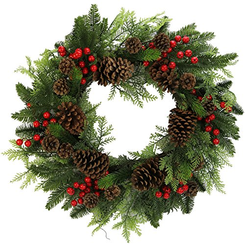 Admired By Nature Faux Red Berries Pine Cones & Cedar Christmas Wreath, 24