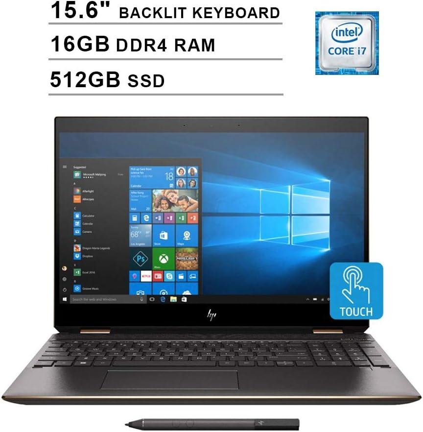 HP 2020 Spectre x360 15.6 Inch 4K IPS Touchscreen 2-in-1 Laptop (Intel Quad Core i7-8565U up to 4.6 GHz, 16GB RAM, 512GB SSD, Backlit Keyboard, NVIDIA GeForce MX150, WiFi, Bluetooth, Windows 10 Home)