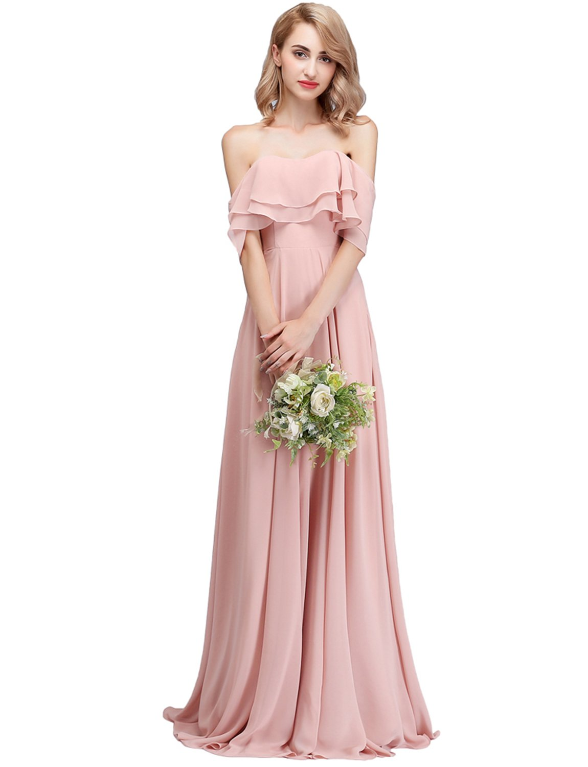 outlet store well known reputable site CLOTHKNOW Strapless Chiffon Bridesmaid Dresses Long Blush with Shoulder  Ruffles for Women Girls to Wedding Party Gowns
