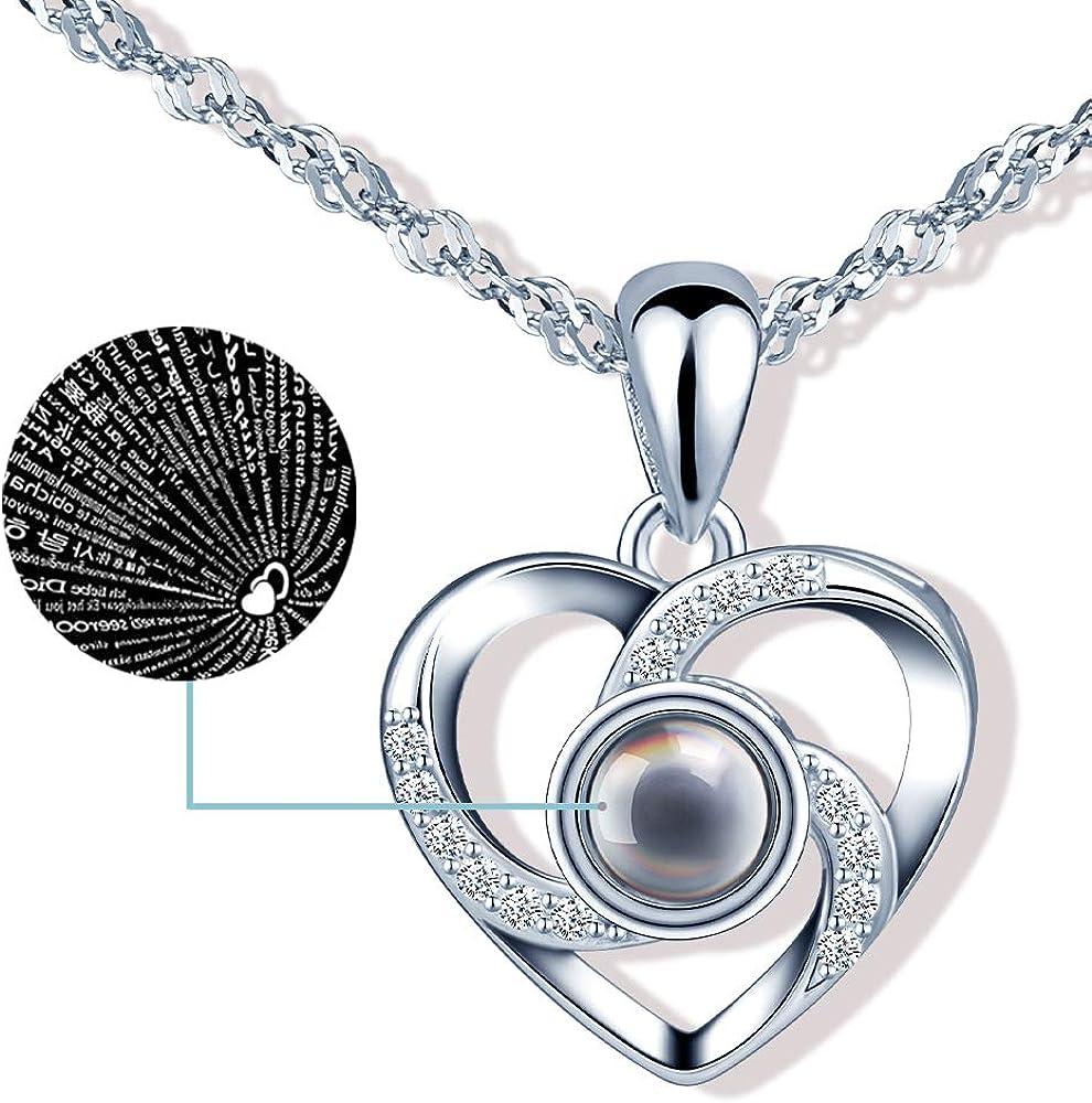 CPSLOVE Collar de corazón de plata 925, Colgante de piedra de vidrio negro con proyección de