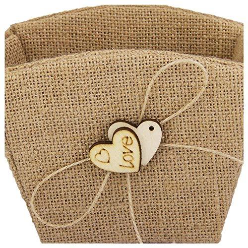 Agordo 3X(Vintage Wedding Hessian Heart Pendant Flower Basket K9X1 by Agordo (Image #2)