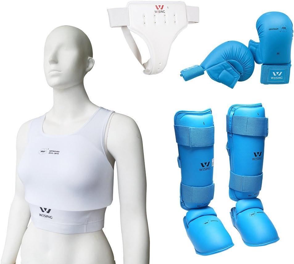Wesing Women空手用手袋セット空手用保護装備WKF承認 (ブルー, XL)