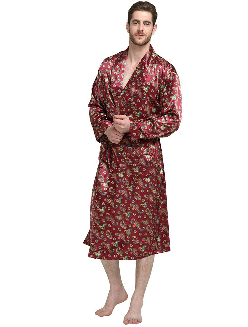 LONXU Mens Silk Satin Bathrobe Robe Nightgown_Big Tall S~3XL Plus_Gifts MRobeyu