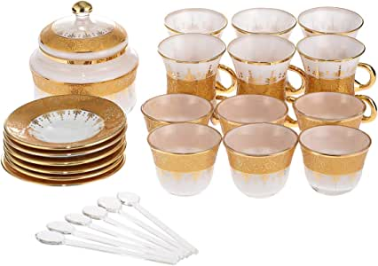 Almarjan Glass Deluxe Tea Set, 26 Pieces, White and Gold