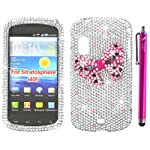 The Friendly Swede (TM) 3D Diamond Rhinestone Bling Case for Samsung Stratosphere i405 + Matching Stylus + Screen Protector in Retail Packaging (Silver and Hot Pink Bow Tie)