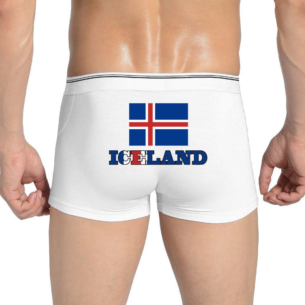 Faker Iceland Flag Iceland Wordart Men's Boxer Underwear White (3 Colors)