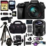 Panasonic G7HK 4K Digital Mirrorless Camera 14-140mm Lens Kit, Panasonic H-HS043K LUMIX G 42.5mm f/1.7 Asph. Power O.I.S., Transcend 64GB, Polaroid Tripod, Flash, Microphone, Filter & Accessory Bundle