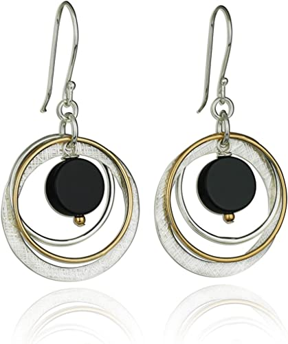 Copper and 925 Silver Circle Drop Earrings Gift Boxed