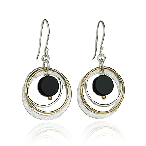 Stera Jewelry 925 Sterling Silver Gold-Filled Multi Hoops Turquoise or Black Onyx Dangle Earrings