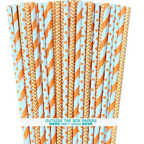 Paper Straws - Orange White - Stripe Chevron Polka Dot - 100 Pack