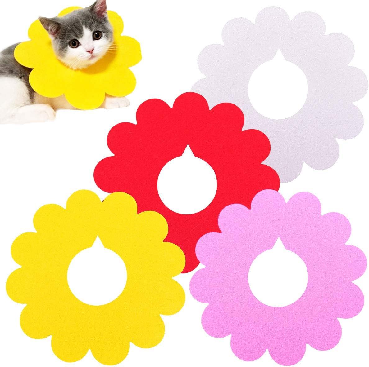 GLOBALDREAM Collar Isabelino Gato, 4 Piezas Collares Recuperación Gatos Cuello Mascota Collar Recuperación Protector para Perros y Gatos para Anti-mordida (L, 4 Colores)