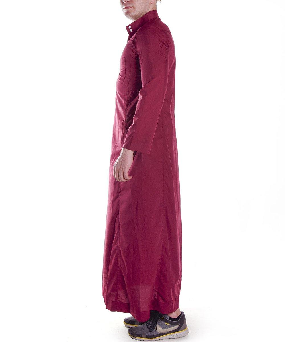 H HrokkMen's Muslim Solid White Business Saudi Arabic Thobe