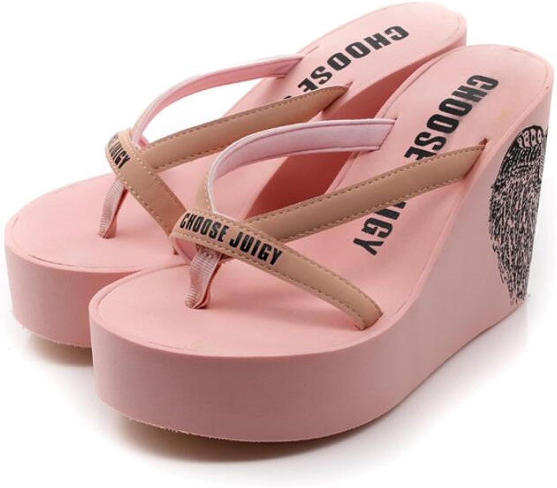 Black Pink DANDANJIE Womens Flip-Flops Wedges Heels Summer High-Heeled Thick-Soled Anti-Slip Holiday Shoes