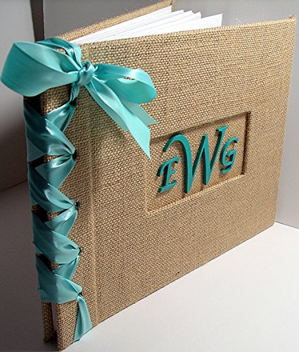 Rustic Guestbook - Monogram Guest Book - Burlap Guestbook - Personalized Guest Book Alternative (Custom Colors Available) by Michelle Worldesigns