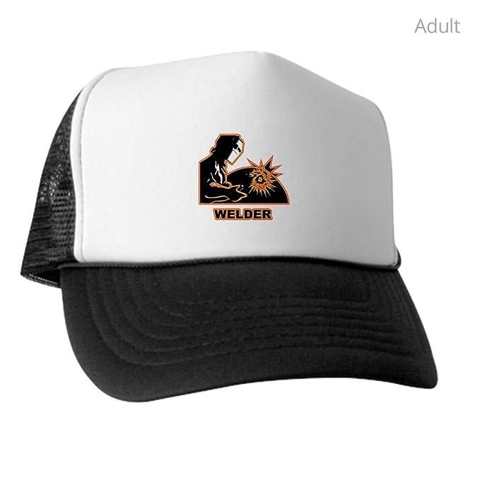 c0f0a028e Amazon.com: CafePress - The Welder - Trucker Hat, Classic Baseball Hat,  Unique Trucker Cap Black/White: Clothing
