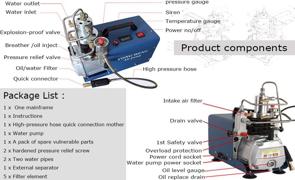 Bomba el/éctrica de compresor de aire de alta presi/ón 30 MPA 300bar 4500PSI para cargar equipos de 0-12L