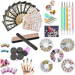 Nail Art Tools Decoration Manicure Pedicure Tool Set 14Pcs Nail Stickers, 5Pack Nail Fake Diamond Rehinstones, 5 Nail File Sticks, 5 Nail Dotting Pen,Beauty Nail Stamping Sponge (Default)