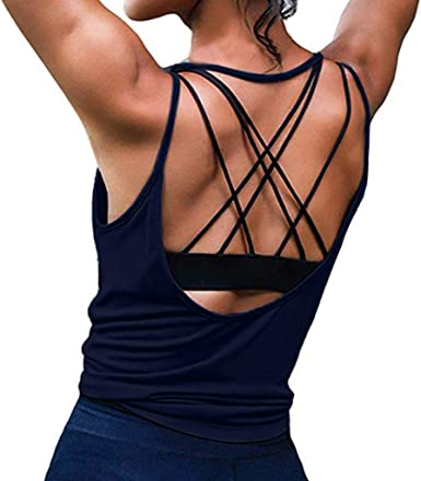 ALONG FIT Loose Fit Open Back Yoga Tank Tops for Women Comfort Workout Sleeveless Crop Top Yoga Shirt