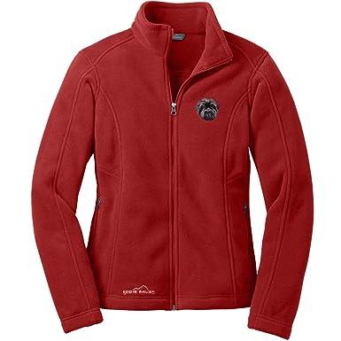 Cherrybrook Dog Breed Embroidered Womens Eddie Bauer Fleece Jacket - Small  - Red Rhubarb - Affenpinscher