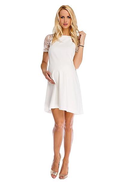e6032e8e8562 My Tummy Vestito premaman Julia bianco con pizzo A-line elegante per  matrimonio S (