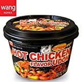 Korean Style Extreme Spicy Hot Chicken Flavor Stir-Fried Noodle Udon by WANG Food [Healthy, Convenient] Easy Cook Bowl in 90 Sec. Microwaveable / 7.79 oz per Meal (Pack of 6 Big Cup)