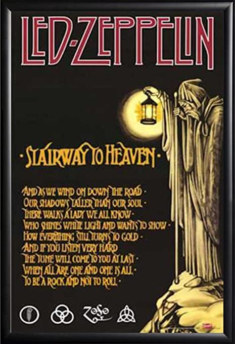 Framed Led Zeppelin Stairway To Heaven With Lyrics 24x36 Poster In