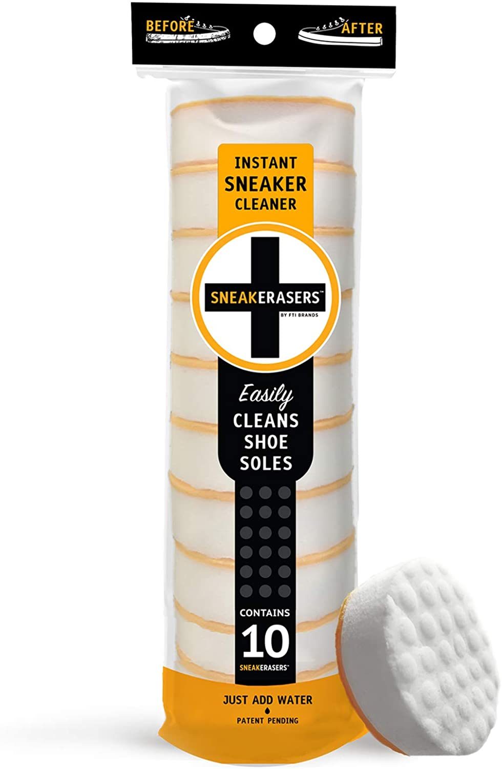 SneakERASERS Instant Sole and Sneaker Cleaner, Premium Dual-Sided Sponge for Cleaning & Whitening Shoe Soles (10 Pack)