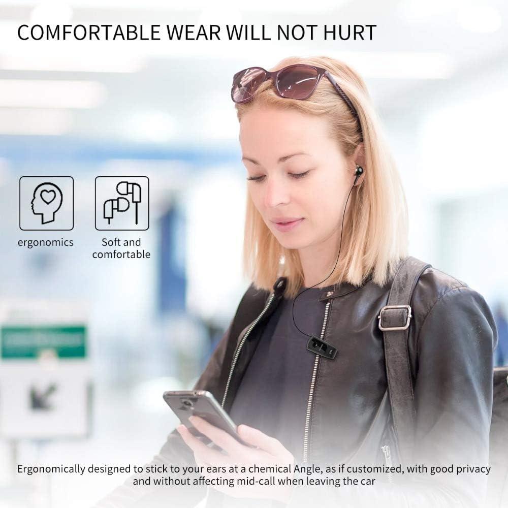 XXF Draag Clip Headset, Zakelijke Wear Clip Headset Bluetooth HIFI Ruisonderdrukking Comfortabele Oortelefoon met Microfoon voor Rijden Workout Office Zwart