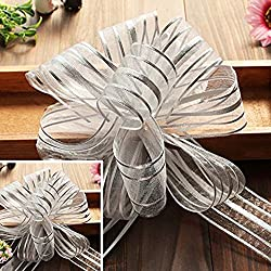 "EOM Set of 8 Wedding Pull Bow Organza Striped Ribbon String with 35"" Long Tulle Tails Wedding Party Bridal Giftwrap Wrapping Bows ,Gift Bows, Christmas Bows Assorted Colors (Set of 10 Silver Color)"