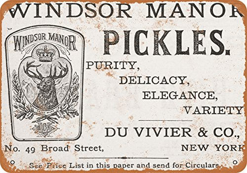 Windsor Metal Plaque (Wall-Color 9 x 12 METAL SIGN - 1883 Windsor Manor Pickles - Vintage Look Reproduction)