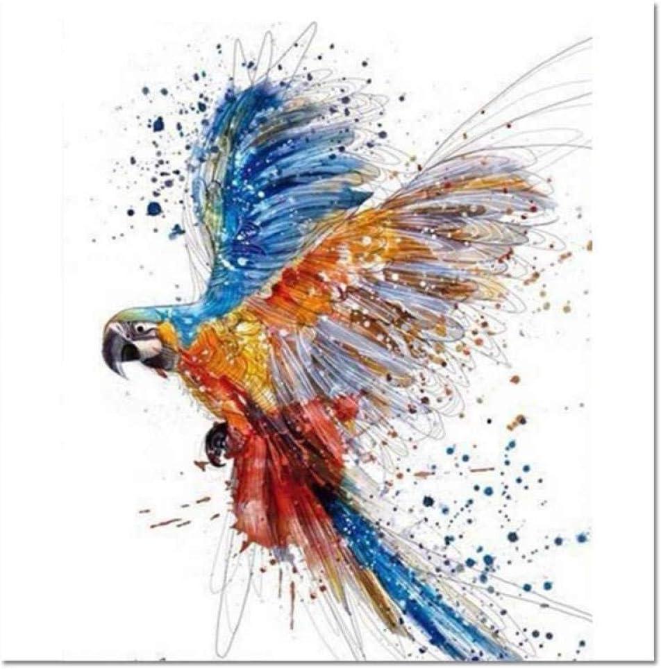 YLWMBB Pintar por Numeros Adultos Loro De Color DIY Pintura al óleo Kit Lienzos Niños y Principiantes Cuadros Acrilicas Manualidades Decoracion Regalo 40x50 cm(Sin Marco)