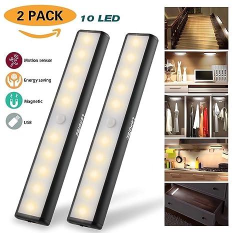 Recargable Luz Armario, Lámpara USB LED Barra de Luz LED Nocturna Inalámbrica con Sensor de