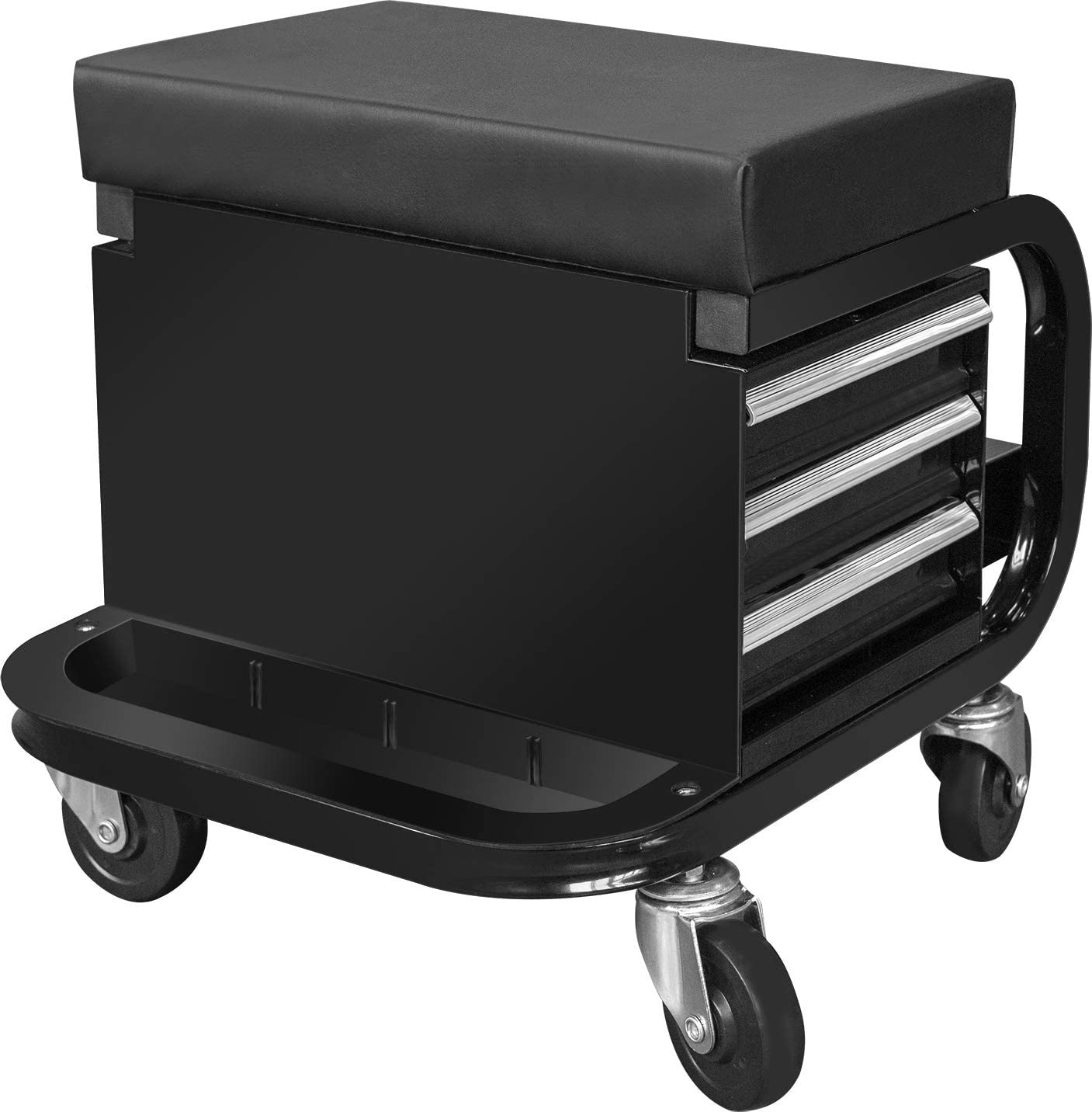 TCE APD2016AU Torin Rolling Creeper Garage//Shop Seat Padded Mechanic Stool with 3 Drawer Tool Chest Storage Black