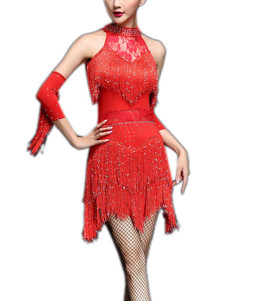 Jive Cha Cha Ballroom Dance Dancer Workout Performance Uniforms Dresses Outfits by Whitewed