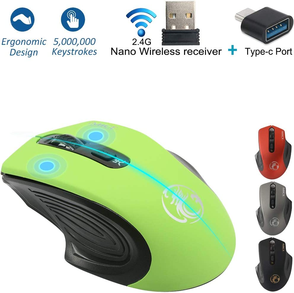 Wireless Mouse for MacBook Pro/MacBook Air,USB c Mouse,Wireless Mouse for Chromebook,iMac,Laptop,Computer,Notebook,PC,MacBook (Green)