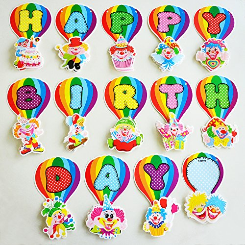 [14 Pcs. Clown Circus HAPPY BIRTHDAY Letter Balloons Banner Party Decorations Bunting Garland with Fill-in Name Pennant and Ribbon] (Abc Party Costume Ideas)