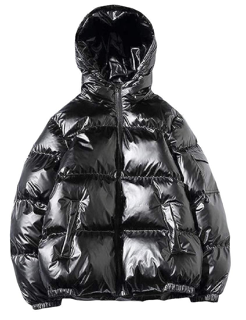 Macondoo Mens Winter Metallic Hoodie Parkas Coat Big and Tall Puffer Down Jacket