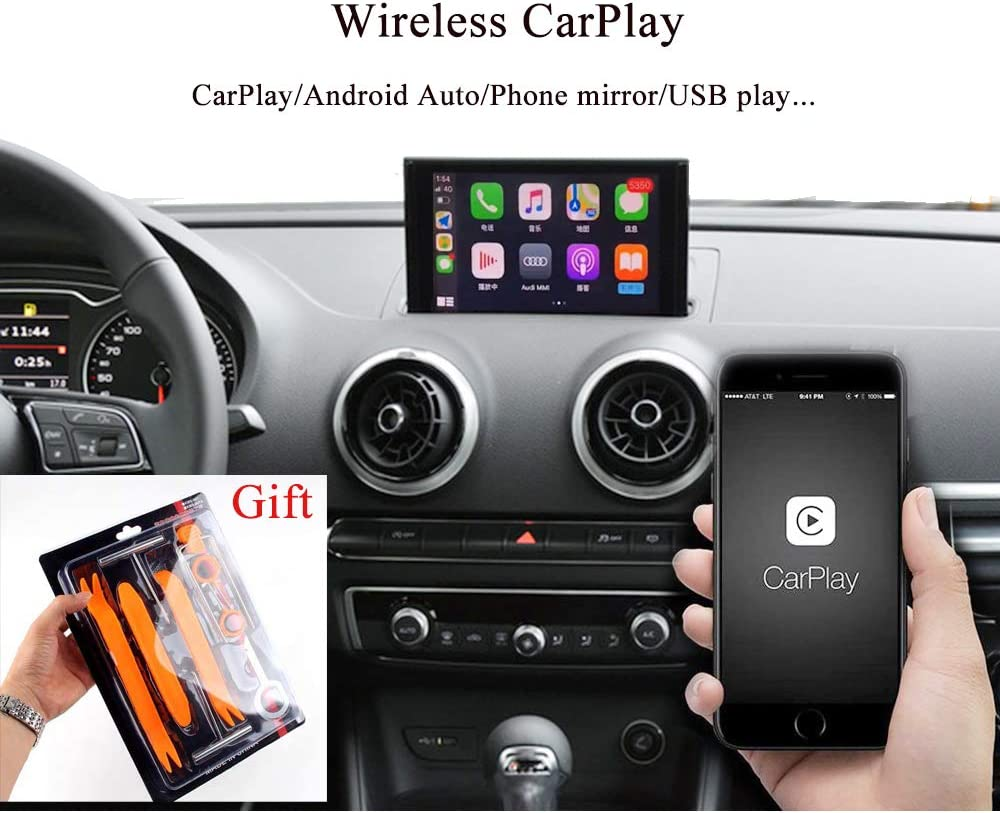 Car Radio Mobile Phone Mirror Solution Android Auto CarPlay S3 A3 8V 8P for Audi 2014-2020 Compatible with Apple Wireless Car Play Integration Parking Aid Support Original Rear Camera Include Tools