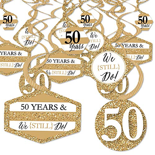 We Still Do - 50th Wedding Anniversary - Anniversary Party Hanging Decor - Party Decoration Swirls - Set of 40