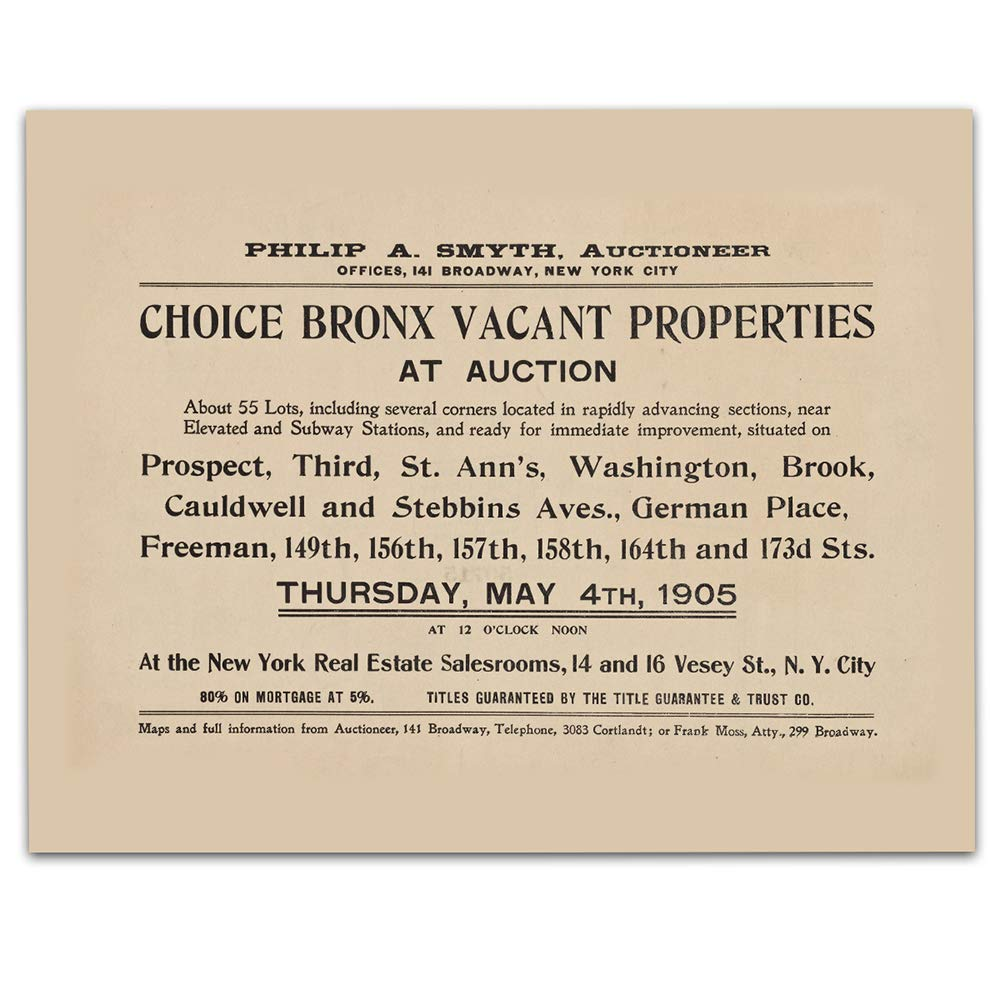 Bronx New York Vintage Art - Real Estate Auction - Circa 1905-11 x 14 Unframed Print - Great Housewarming Gift. New York Themed Office Decor. Great Gift for A Real Estate Agent or Developer